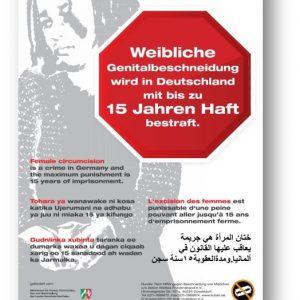 """Plakat """"Weibliche Genitalbeschneidung ist in Deutschland verboten und wird streng bestraft"""""""
